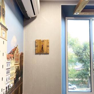 Стильные квадратные часы из массива ясеня, деревянные настенные часы, часы в стиле лофт