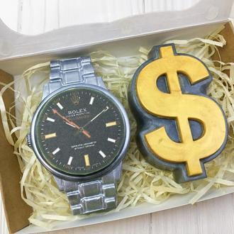 """Подарунковий набір мила """"Годинник і Долар"""" 10х15х3см"""