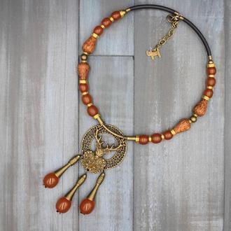Шикарное и очень необычное колье из бусин винтажного янтаря 50-60-х годов