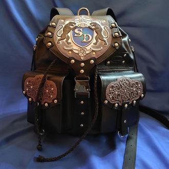 """Кожаный рюкзак """"ПАНТЕРА"""" с инициалами"""
