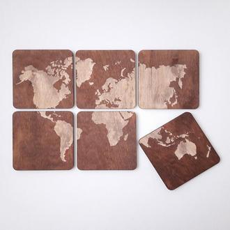 """Подставки под горячее, набор из 6 деревянных подставок для кружек и стаканов """"Карта мира"""""""