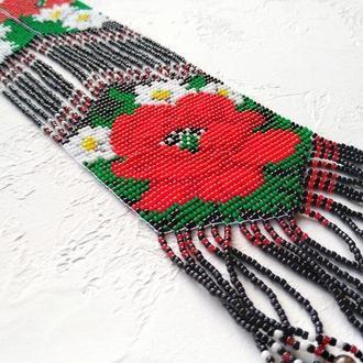Гердан в этно стиле с орнаментом. Украинский гердан с маками и ромашками. Гердан с цветами