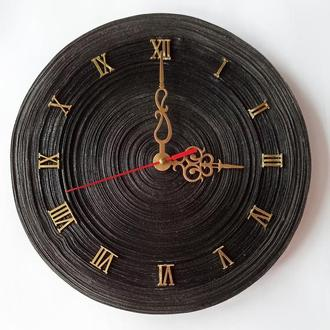 "Настенные часы ""Черный тайфун"" из бумаг. Черные часы ручная работа. Круглые часы"