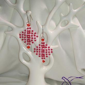 """Свадебные серьги  """"Астра"""" в бело красном цвете!"""