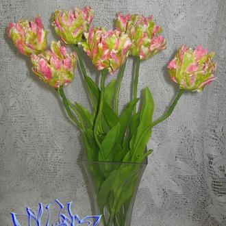 Попугайные тюльпаны,1 штука, полимерная глина, холодный фарфор