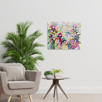 Танец цветов в саду - современная абстрактная картина