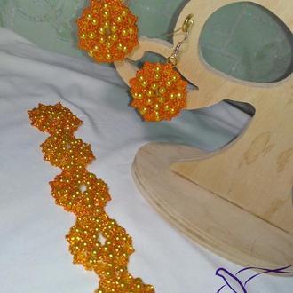 Оранжевый браслет Мандала