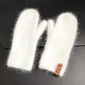 тофу белые варежки ангора пушистые мягкие Bregoli design итальянская ангора пух кролика