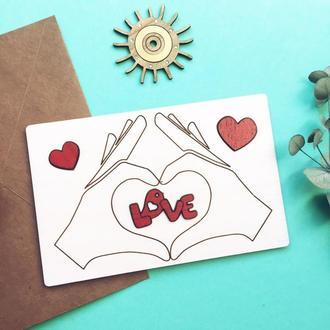 Объемная открытка из дерева LOVE