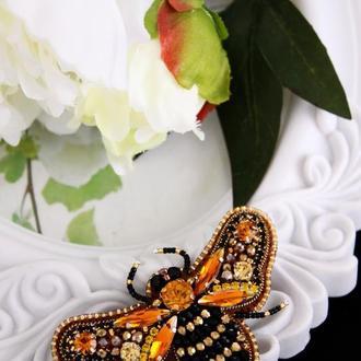 Брошь Королевская пчела, Брошь насекомое, Подарок внучке, Подарок дочке, Подарок на День Рождения