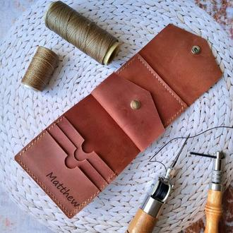 Кожаный женский кошелек с гравировкой, Кожаный мужской кошелек с гравировкой
