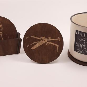 """Подставки под горячее, набор из 4 круглых деревянных подставок для кружек и стаканов """"STAR WARS"""""""