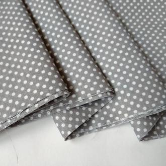 Ткань для рукоделия горошек на сером фоне