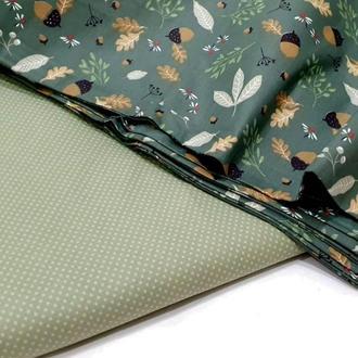 Ткань хлопок для рукоделия мелкий горошек на оливковом фоне
