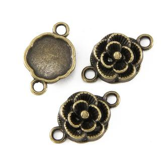 Коннектор Цветок средний бронза, 1 уп - 4 шт, размер 12х3.5мм
