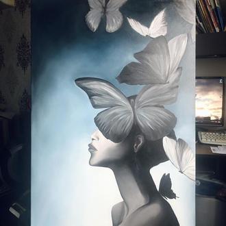 Картина маслом «Бабочки в голове»