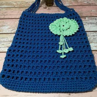Авоська, городская сумка для покупок, сумка шоппер синяя, эко сумка плетенная, размер 35*40