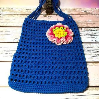 Авоська синяя с цветком, эко сумка шоппер, городская сумка для покупок, размер 35*40 см