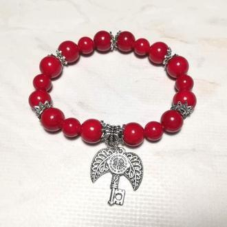 Браслет з Корала натуральний камінь, колір червоний і його відтінки \ Sb - 0146