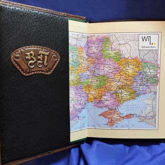 Кожаный ежедневник с гербом и инициалами