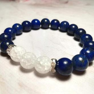 Браслет из Лазурита и Горного хрусталя натуральный камень, цвет синий и его оттенки \Sb - 0063