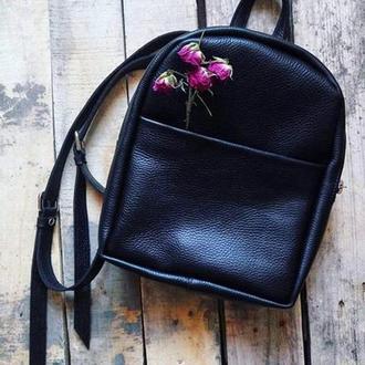 Чёрный рюкзак из натуральной кожи, кожаный рюкзак, шкіряний рюкзак, наплічник жіночий