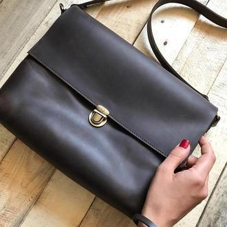 Кожаная сумка - портфель, кроссбоди из натуральной кожи, крейзи хорс