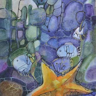 Оригинальная авторская картина - винтажная акварель. Морские жители