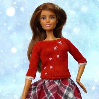 Выкройка и видеоурок ′Красный свитер для куклы Барби′