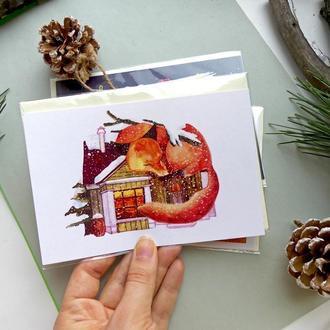 Открытка с лисичкой, зимняя акварельная открытка, уютная открытка с лисой