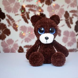 Плюшевый вязаный шоколадный мишка с блестящими глазками. Игрушка для малыша. Подарок.