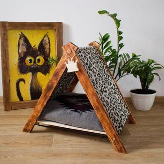 Деревянный домик для собаки кошки лежак когтеточка матрасик мебель для домашних животных гамак
