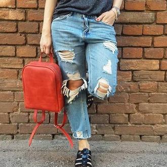 Красний рюкзак из натуральной кожи, кожаный рюкзак, шкіряний рюкзак, наплічник жіночий
