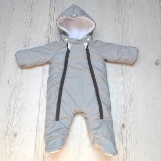Комбінезон дитячий демісезонний Сірий 62, 68, 74 розмір