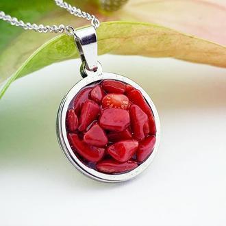 Красный кулон с натуральным кораллом Подарок девушке подвеска коралл (модель № 625) JK jewelry