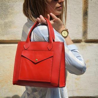Кожаная сумка Helen Red