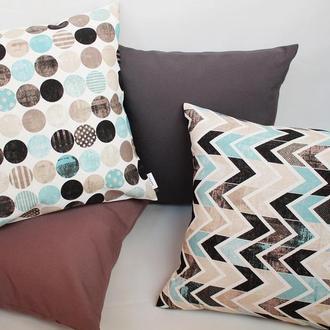 Декоративная подушка - геометрия Киев, голубая подушка, серая подушка Киев, подушка зигзаг Днепр