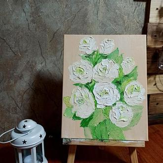 Картина маслом «Карамельные розочки», 24х30