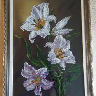 Картина квіти вишита бісер