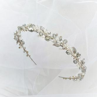 Ободок для волос, обруч свадебный, свадебный ободок, венок в прическу