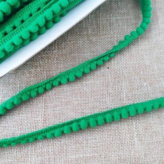 Тасьма з помпонами зелена 0,5 см (1м/п)
