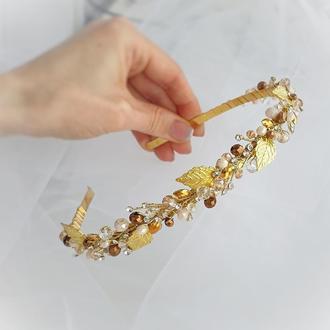 Золотистый ободок, золотой обруч, обруч на выпускной, ободок в прическу, веточка на ободке
