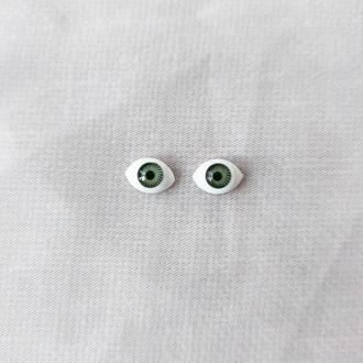 Глазки для игрушек овал зеленые 12 мм. 1 пара