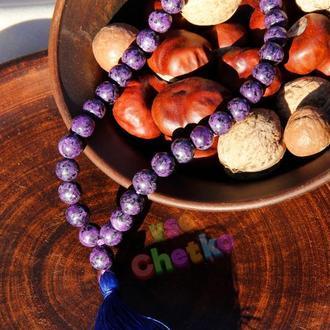 Четки из чароита на 33 бусины с синей кисточкой