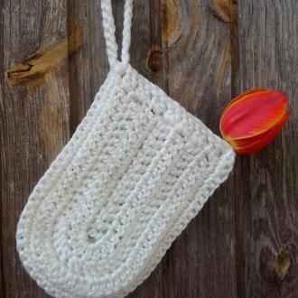 Мочалка ручной вязки из синтетической пряжи