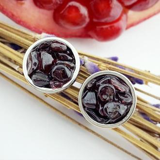 Серьги гвоздики с кристаллами граната Подарок девушке маме на 8 марта  (модель № 629) JK jewelry