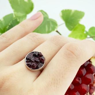 Кольцо минимализм с кристаллами граната Подарок девушке гранатовое кольцо (модель № 630) JK jewelry