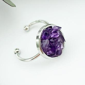 Кольцо с кристаллами аметиста Минимализм Подарок девушке женщине маме дочке (модель №632) JKjewelry