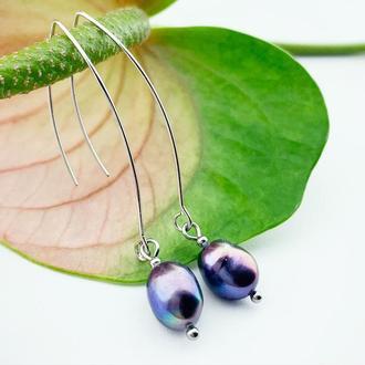 Длинные серьги в стиле минимализм с чёрным жемчугом Подарок девушке жемчуг (модель № 635) JK jewelry