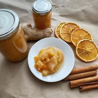 Варенье из яблок, апельсинов с имбирем и корицей